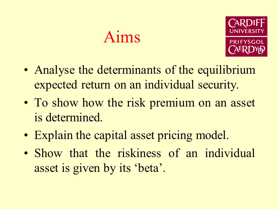 Aims Analyse the determinants of the equilibrium expected return on an individual security. To show how the risk premium on an asset is determined.