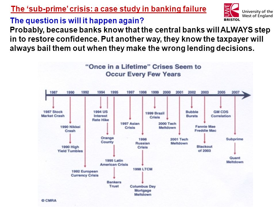 The 'sub-prime' crisis: a case study in banking failure