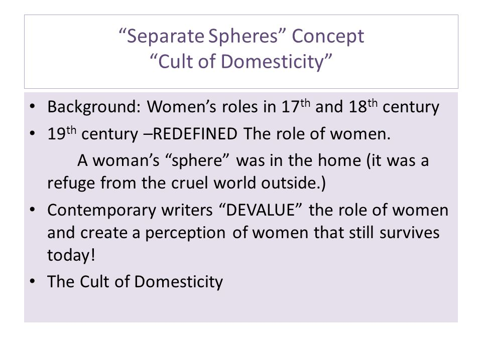 Separate Spheres Concept Cult of Domesticity