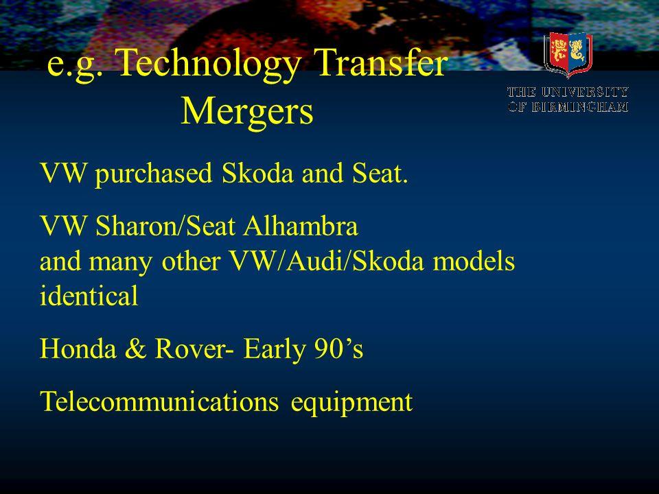 e.g. Technology Transfer Mergers