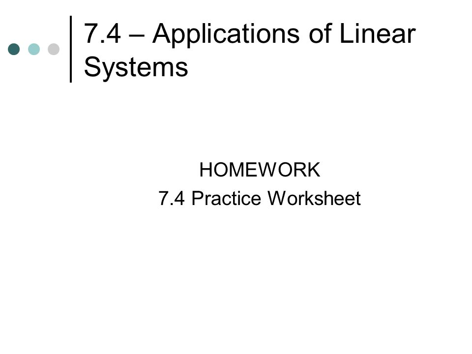 Chapter 7 Systems Of Linear Equations And Inequalities Ppt Download