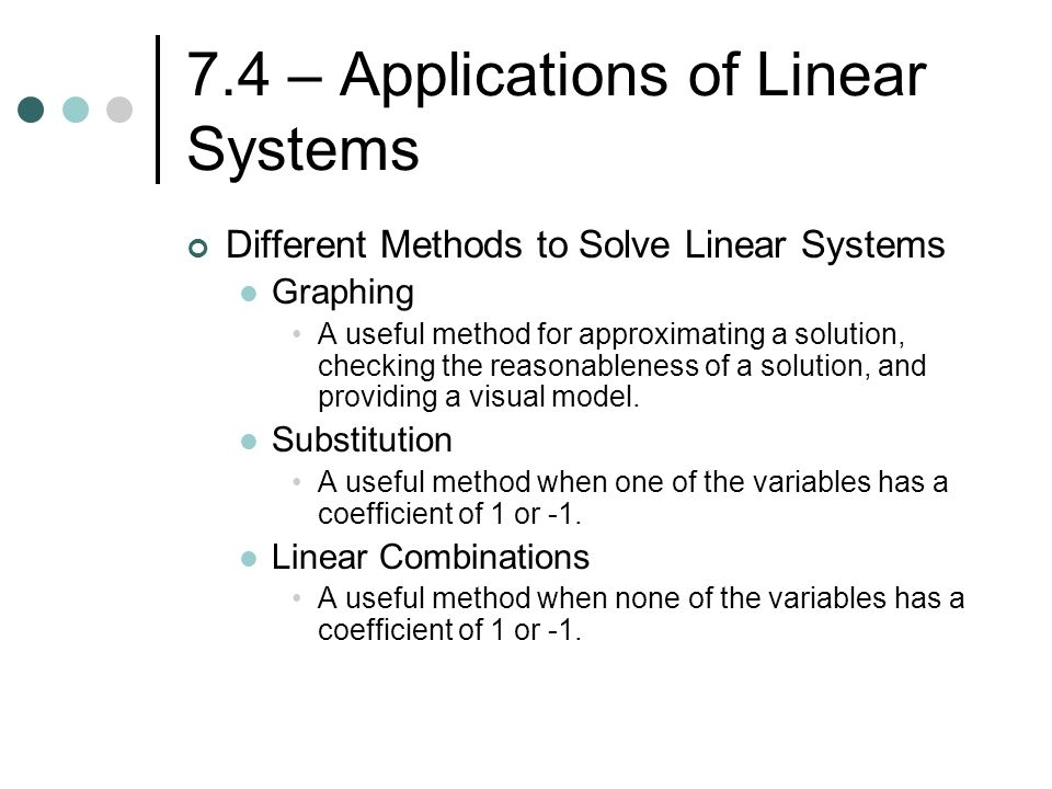 Chapter 7 – Systems of Linear Equations and Inequalities - ppt ...