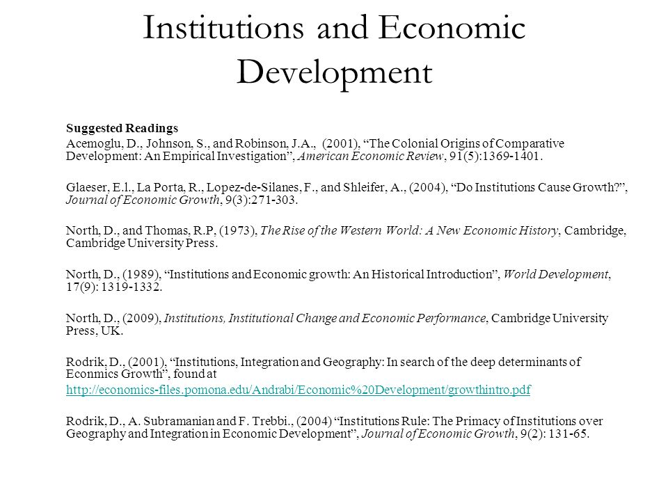 Institutions and Economic Development
