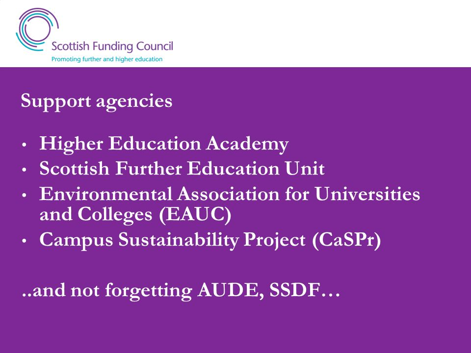 Support agencies Higher Education Academy. Scottish Further Education Unit. Environmental Association for Universities and Colleges (EAUC)