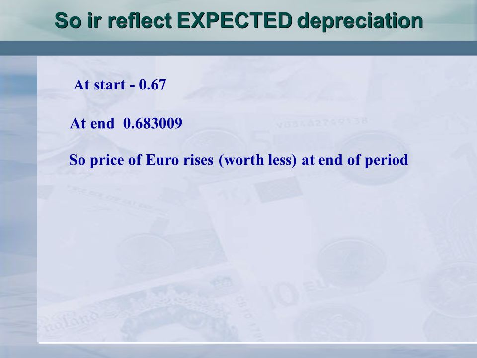 So ir reflect EXPECTED depreciation