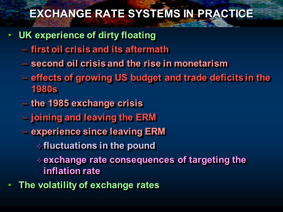 EXCHANGE RATE SYSTEMS IN PRACTICE