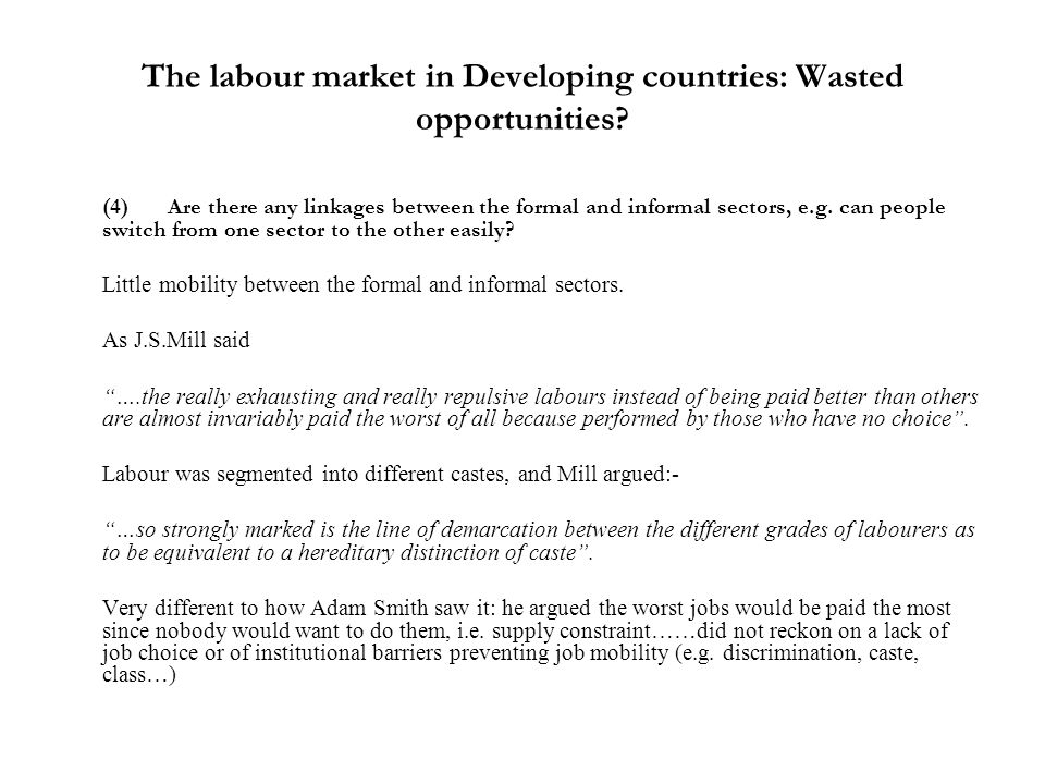 The labour market in Developing countries: Wasted opportunities