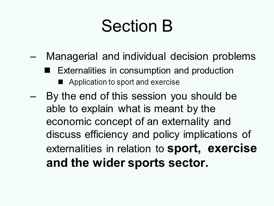 Section B Managerial and individual decision problems