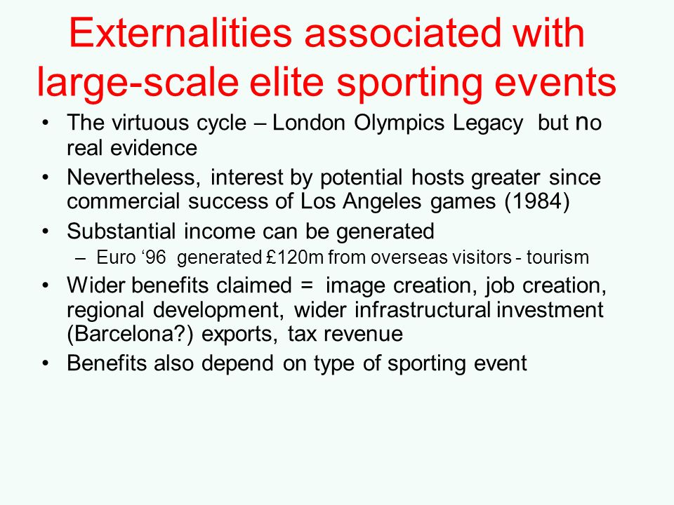 Externalities associated with large-scale elite sporting events