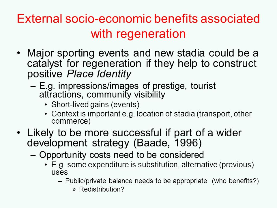 External socio-economic benefits associated with regeneration
