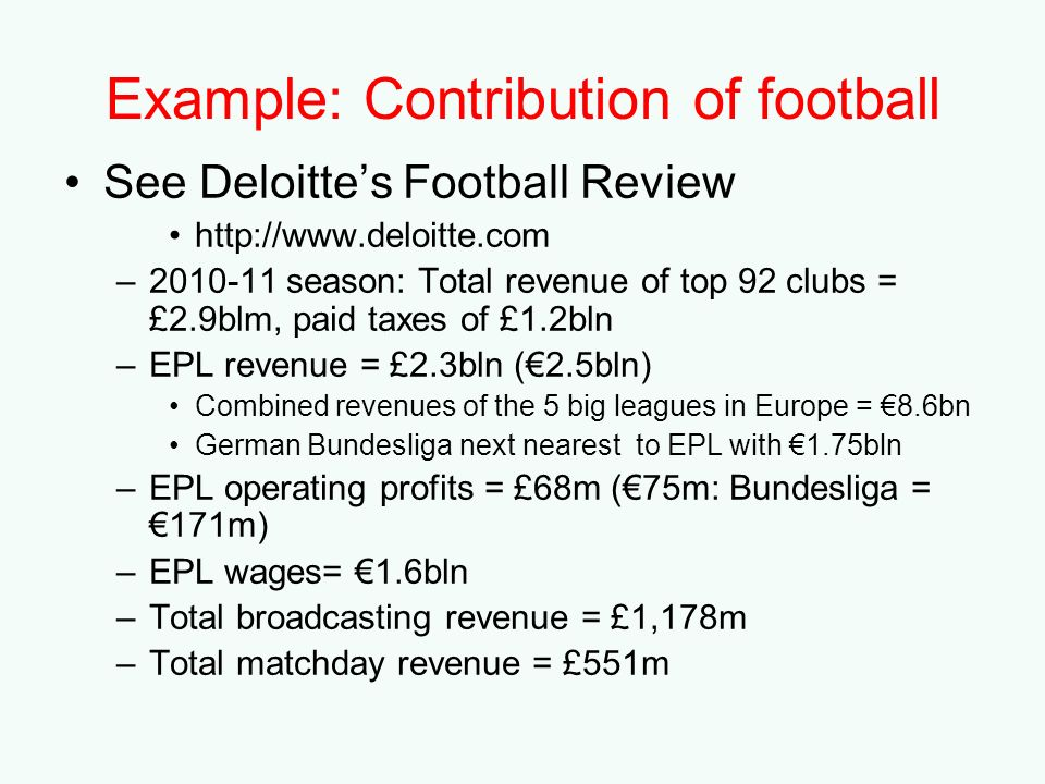 Example: Contribution of football