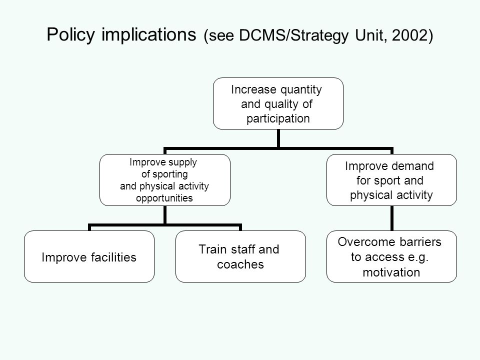 Policy implications (see DCMS/Strategy Unit, 2002)