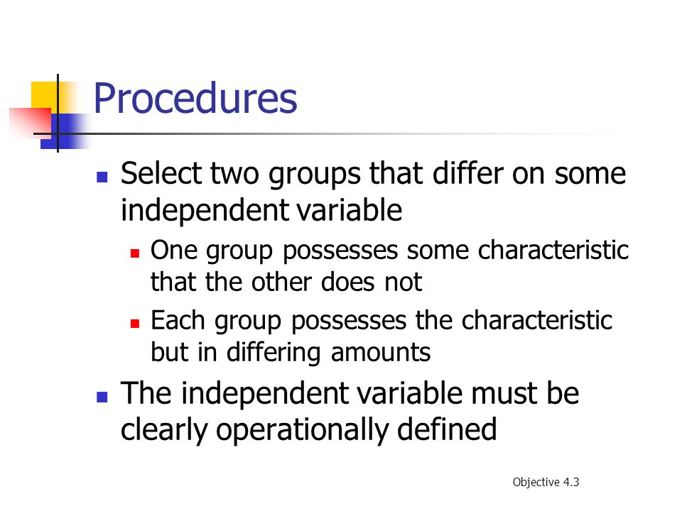 Procedures Select two groups that differ on some independent variable