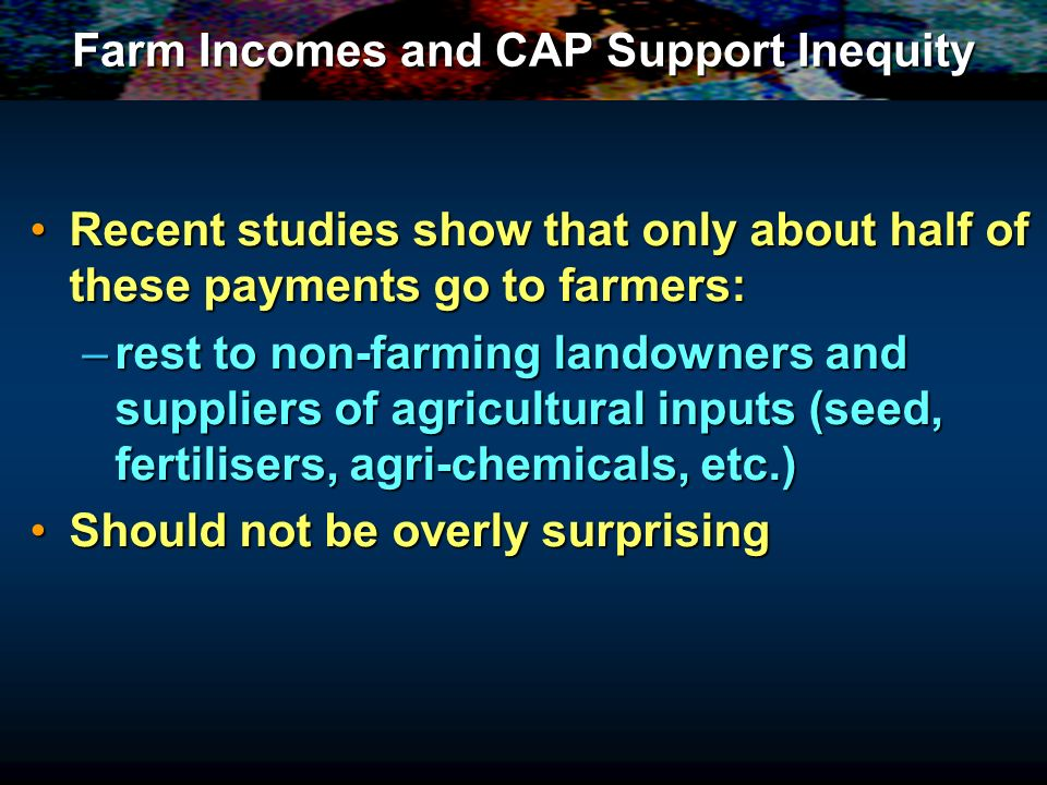 Farm Incomes and CAP Support Inequity