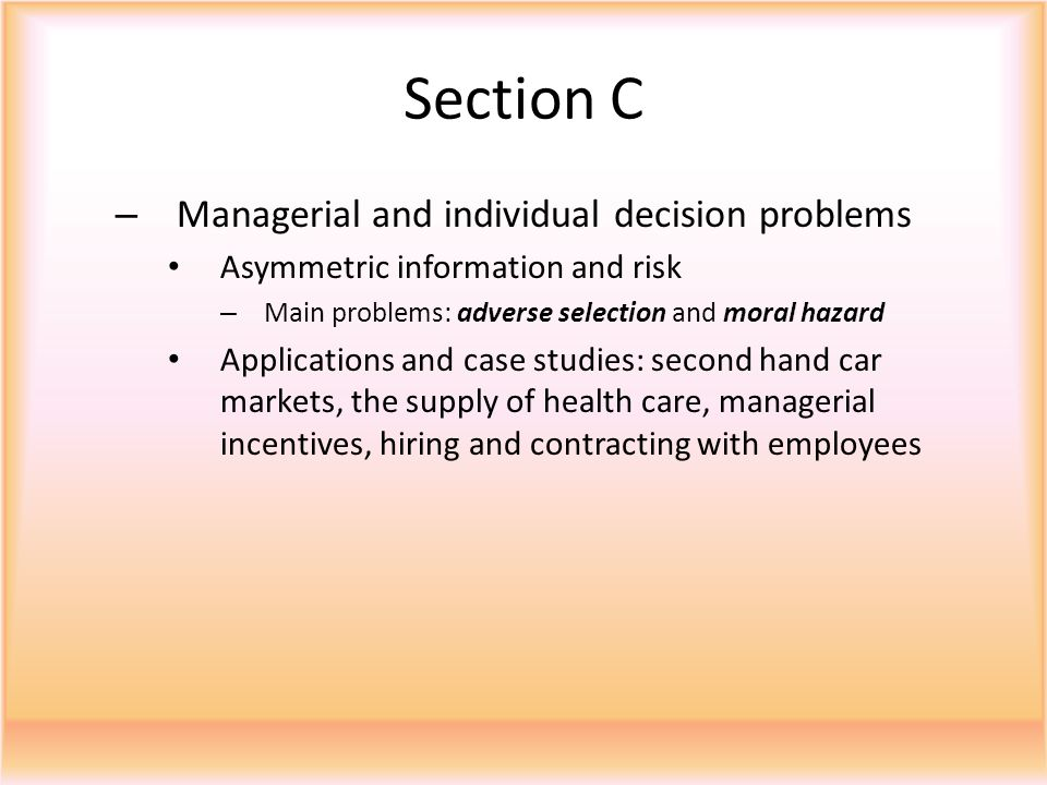 Section C Managerial and individual decision problems