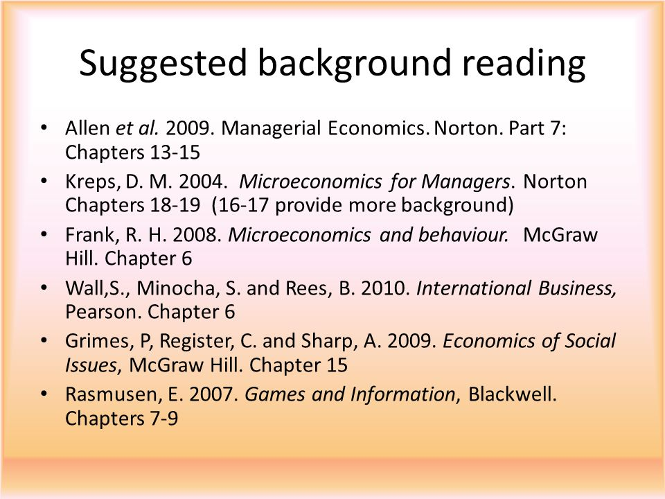 Suggested background reading