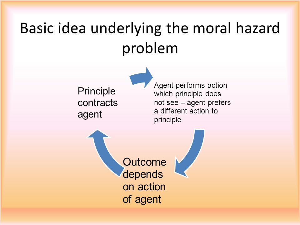 principle agent moral hazard Optimal enforcement strategy to prevent oil spills: an  application of a principal-agent model with moral hazard mark a cohen  federal trade.