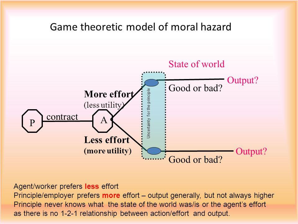 Game theoretic model of moral hazard