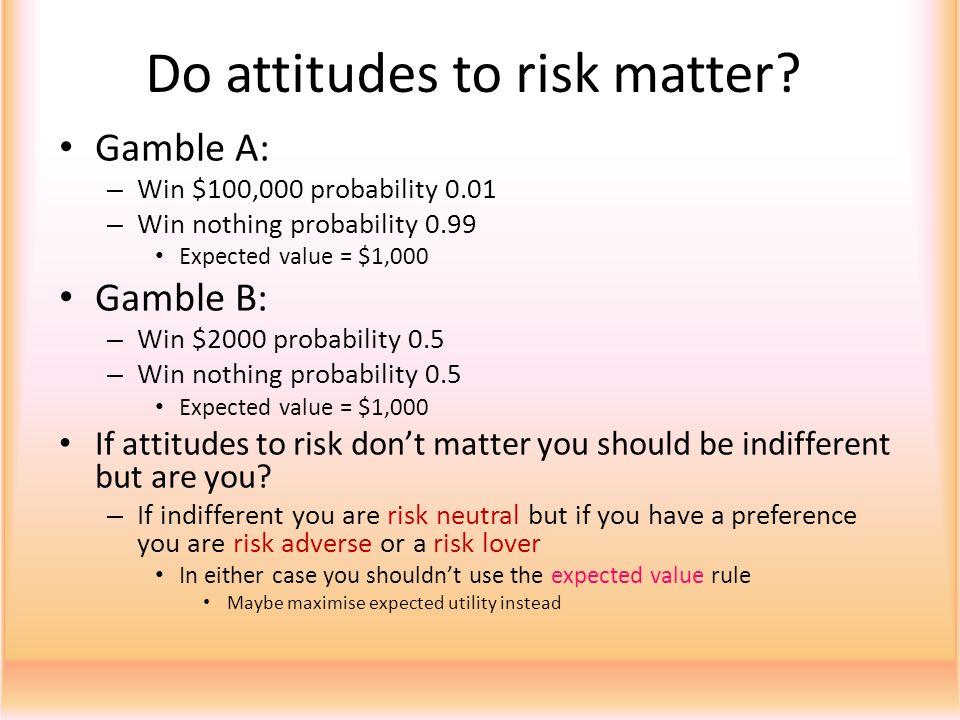 Do attitudes to risk matter