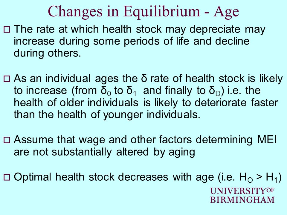 Changes in Equilibrium - Age