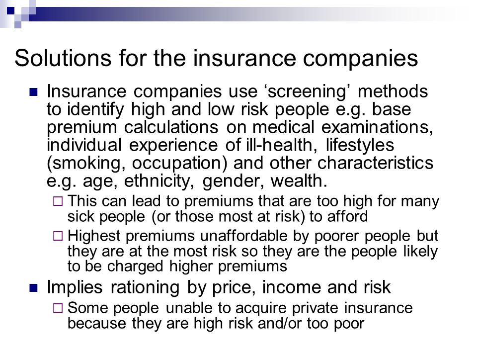 Solutions for the insurance companies