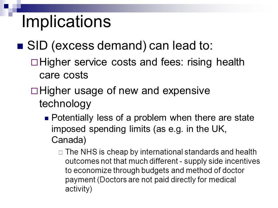 Implications SID (excess demand) can lead to: