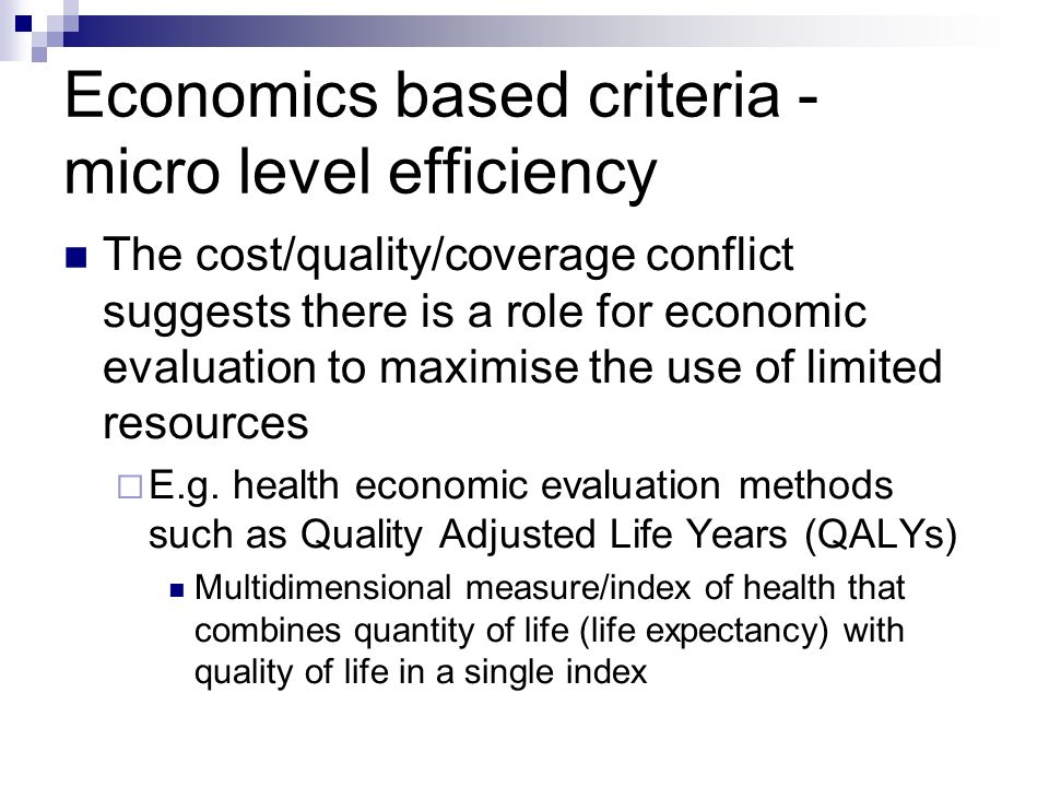 Economics based criteria - micro level efficiency