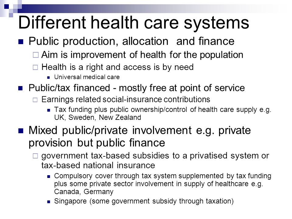 Different health care systems