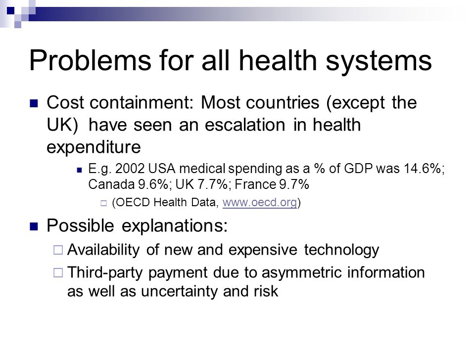 Problems for all health systems