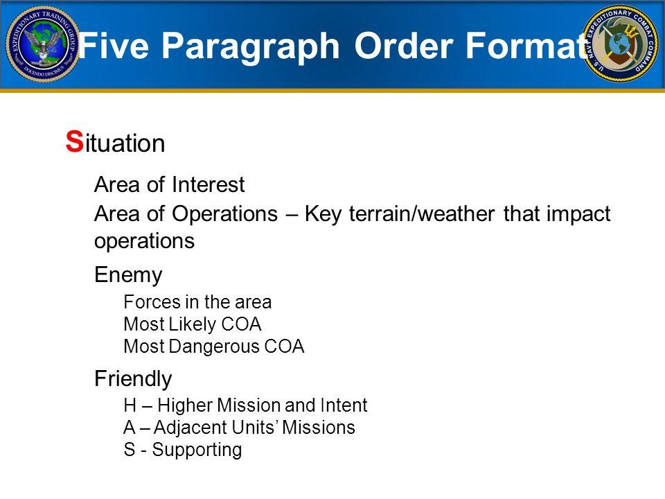 usmc warning order template - 5 paragraph order usmc essay 28 images 5 paragraph