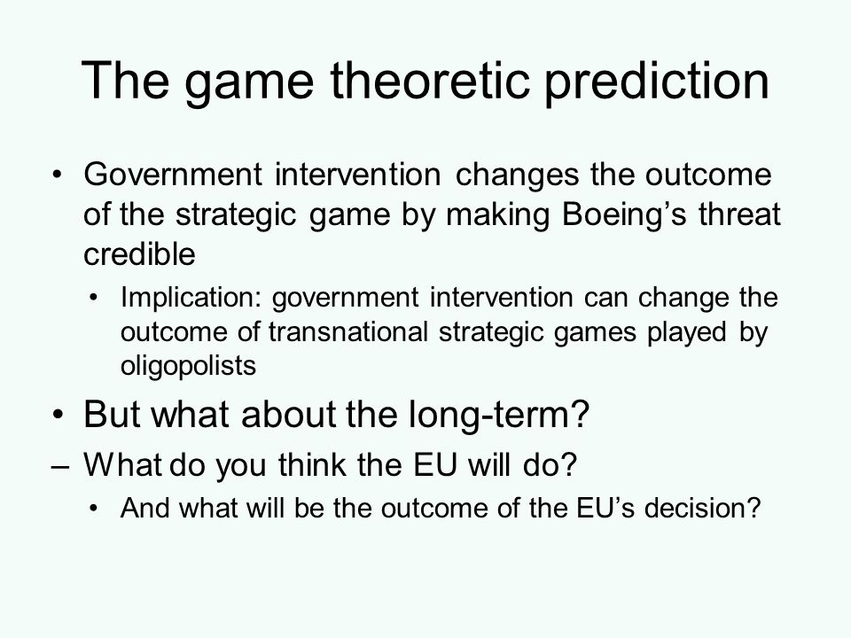 The game theoretic prediction
