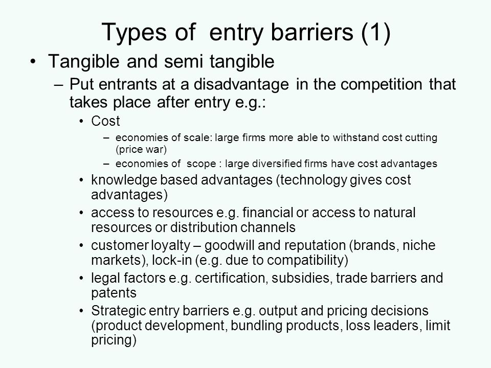 Types of entry barriers (1)