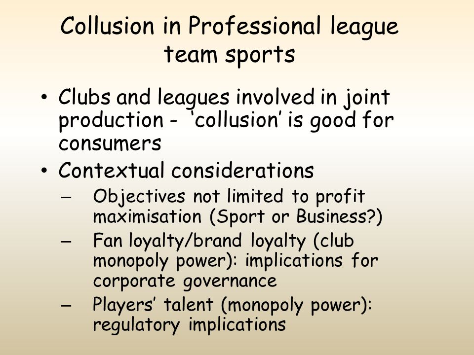 Collusion in Professional league team sports
