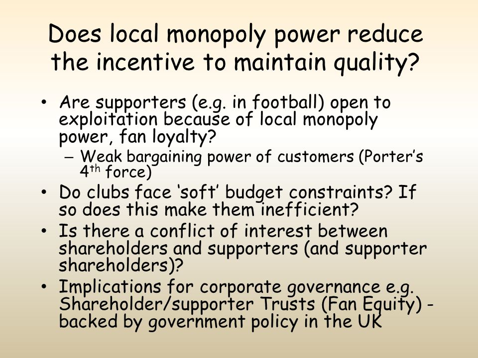 Does local monopoly power reduce the incentive to maintain quality