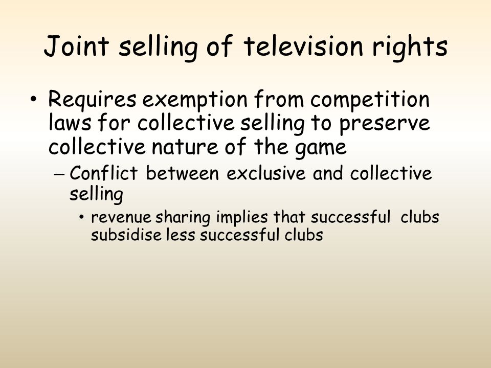 Joint selling of television rights