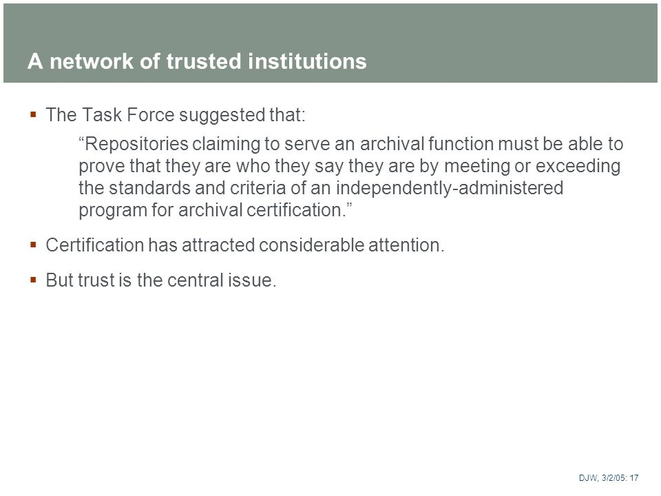 A network of trusted institutions
