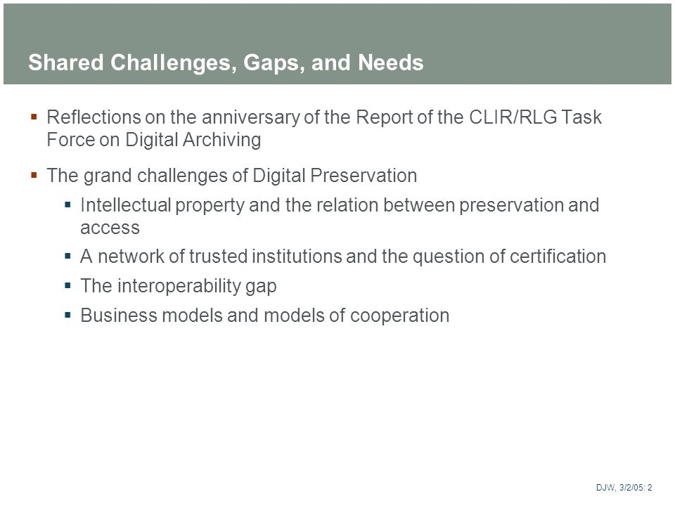 Shared Challenges, Gaps, and Needs