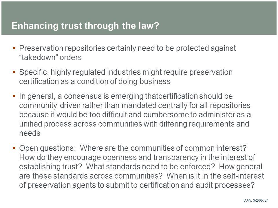 Enhancing trust through the law