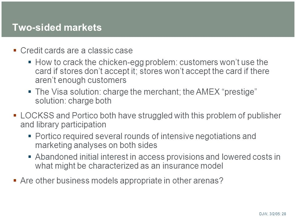 Two-sided markets Credit cards are a classic case