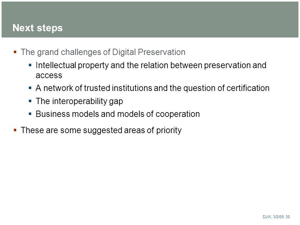 Next steps The grand challenges of Digital Preservation