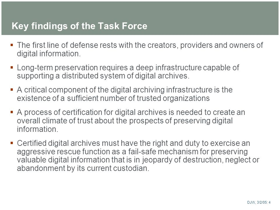 Key findings of the Task Force