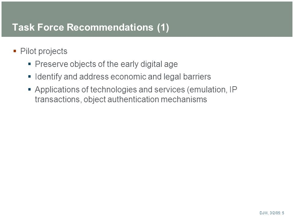 Task Force Recommendations (1)