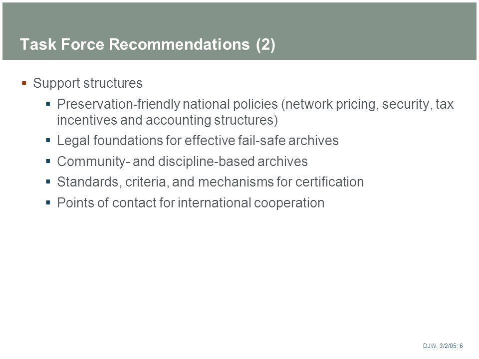 Task Force Recommendations (2)