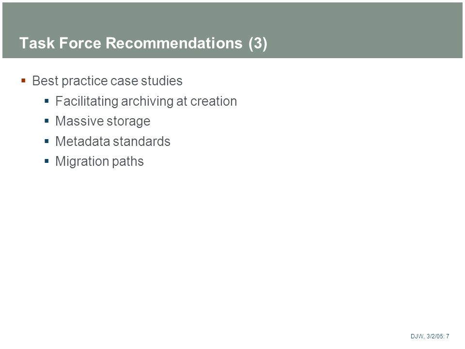 Task Force Recommendations (3)
