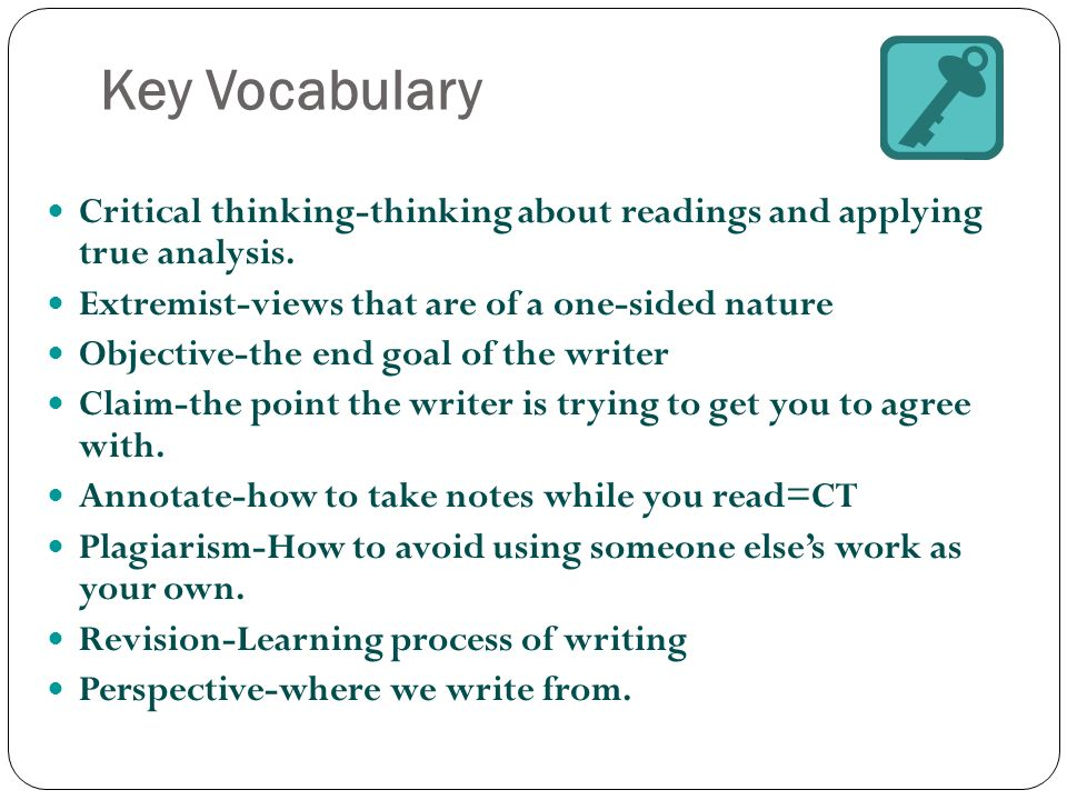 vocabulary and grammar critical content for critical thinking Students memorize lists of vocabulary and rules for grammar this type of thinking thinking outside the blank critical thinking means being able to make an.