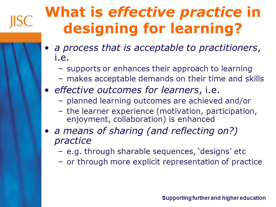 What is effective practice in designing for learning