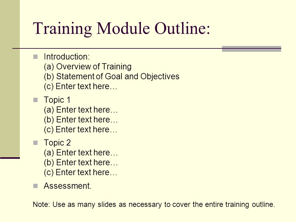 Title of training module design plan ppt video online for Training module template free