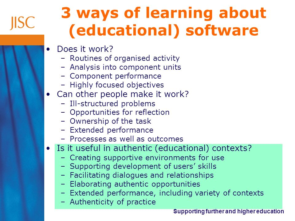 3 ways of learning about (educational) software
