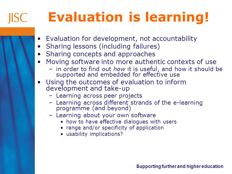 Evaluation is learning!