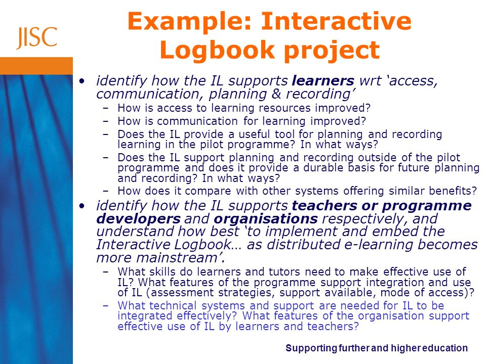 Example: Interactive Logbook project